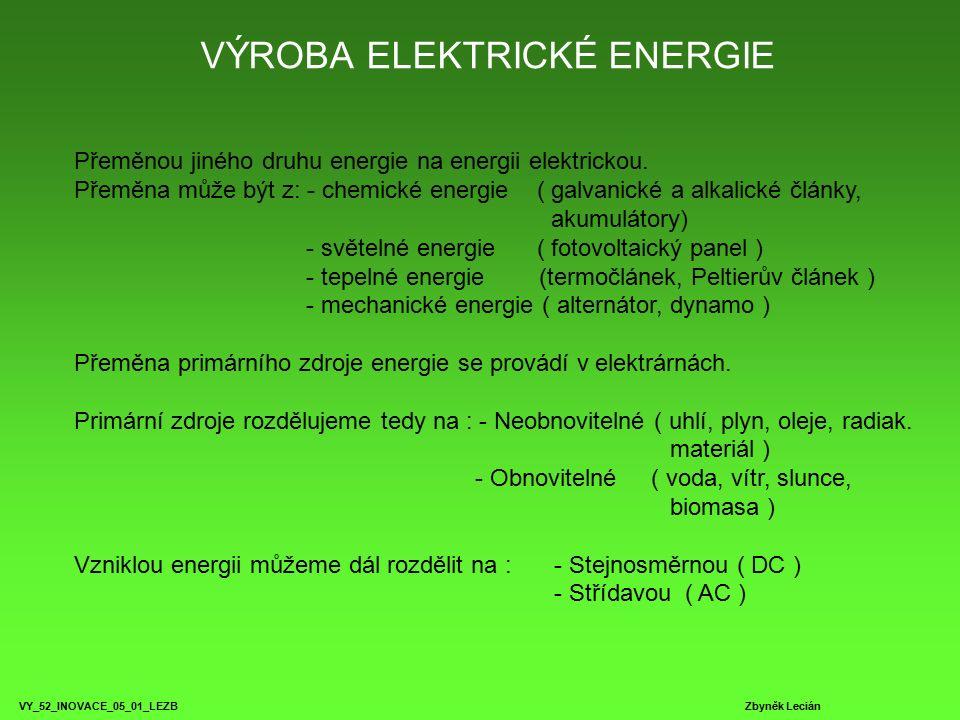 VÝROBA ELEKTRICKÉ ENERGIE VY_52_INOVACE_05_01_LEZB Zbyněk Lecián Přeměnou jiného druhu energie na energii elektrickou.