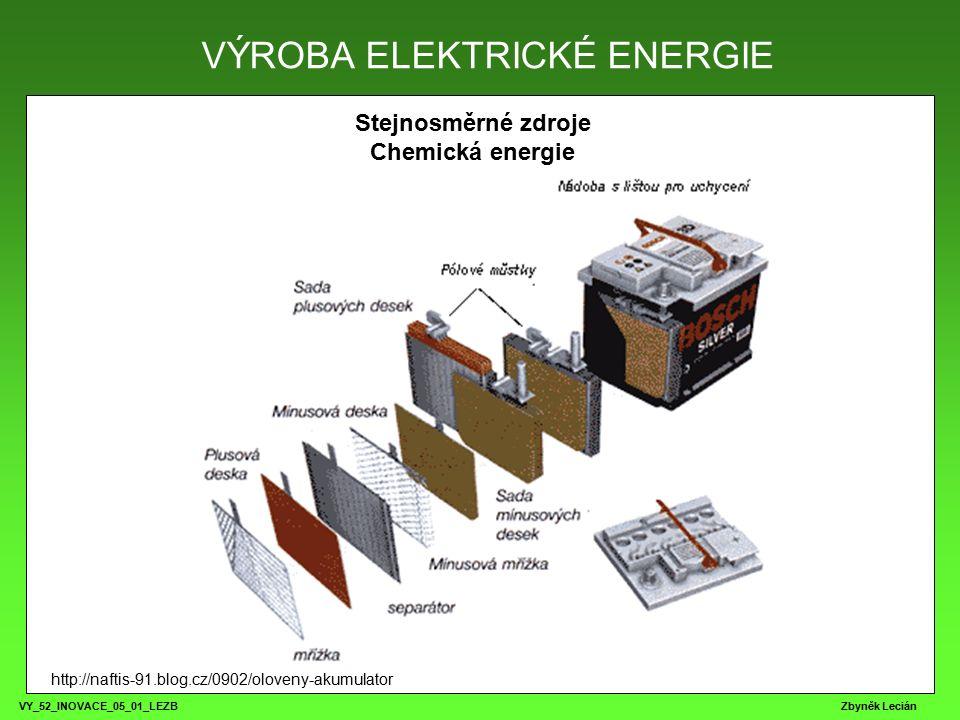 VY_52_INOVACE_05_01_LEZB Zbyněk Lecián ZPĚT VÝROBA ELEKTRICKÉ ENERGIE Stejnosměrné zdroje Chemická energie Řazení baterií Parametry článku: 1,5V / 1000mA Parametry sestavy: 1,5V / 3000mA Parametry sestavy: 4,5V / 1000mA