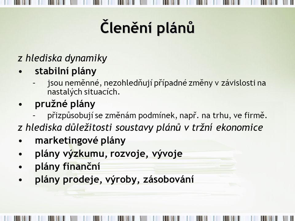 z hlediska dynamiky stabilní plány –j–jsou neměnné, nezohledňují případné změny v závislosti na nastalých situacích. pružné plány –p–přizpůsobují se z