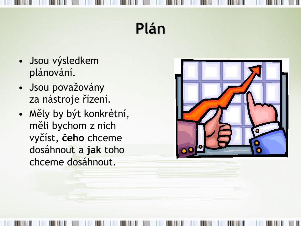 Plán Jsou výsledkem plánování. Jsou považovány za nástroje řízení. Měly by být konkrétní, měli bychom z nich vyčíst, čeho chceme dosáhnout a jak toho
