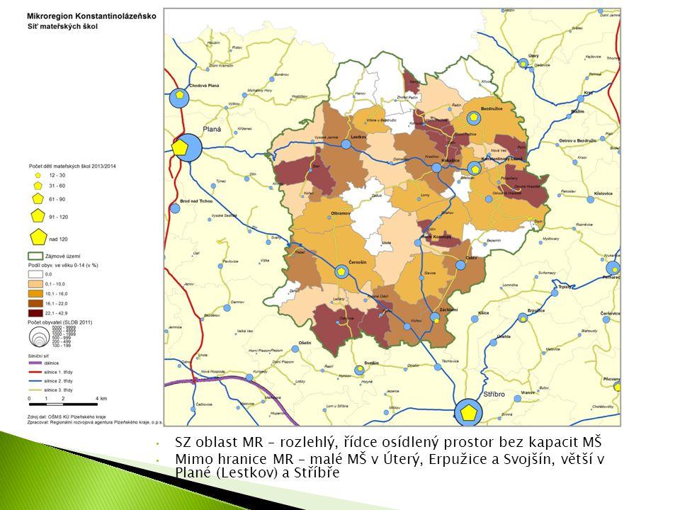 SZ oblast MR – rozlehlý, řídce osídlený prostor bez kapacit MŠ Mimo hranice MR – malé MŠ v Úterý, Erpužice a Svojšín, větší v Plané (Lestkov) a Stříbře