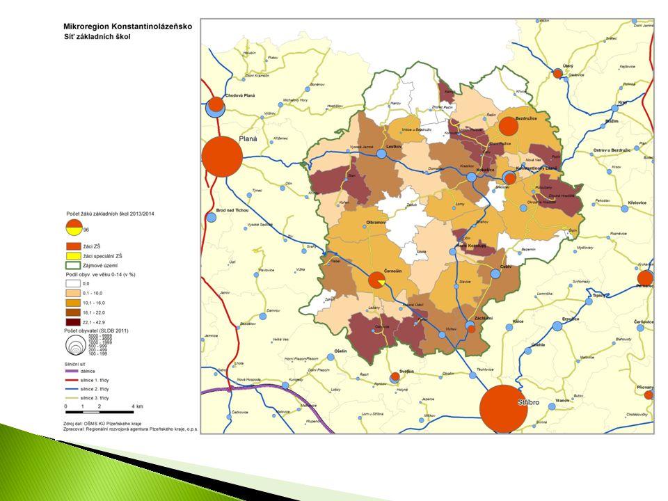  Cca 79 % žáků ZŠ bydlících v MR navštěvuje školu v MR  během tří let 2011-2013 stabilní poměr  Hlavní směry vyjížďky mimo MR: ◦ Do Stříbra (44 žáků ZŠ z MR) ◦ Do Plané (22 žáků ZŠ) ◦ Nevýznamná do Plzně (2 žáci ZŠ) a do Svojšína (2 žáci ZŠ)  Rozmístění ZŠ v regionu (viz následující mapy) ◦ Podobně jako u MŠ chybějící vzdělávací kapacity v SZ prostoru MR (Lestkov) ◦ 70 % žáků ZŠ z Lestkova vyjíždí mimo MR (dominantní směr do Plané) ◦ z obce Horní Kozolupy 100 % vyjížďka žáků ZŠ mimo region 201120122013 Počet žáků ZŠ bydlících v MR344335340 Vyjíždí z MR697374 Dojíždí z vně do MR343032 Počet žáků navštěvující ZŠ v MR309292298