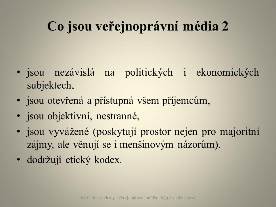 Veřejnoprávní média v ČR Český rozhlas Česká televize Česká tisková kancelář (ČTK) Mediální produkty - Veřejnoprávní média - Mgr.