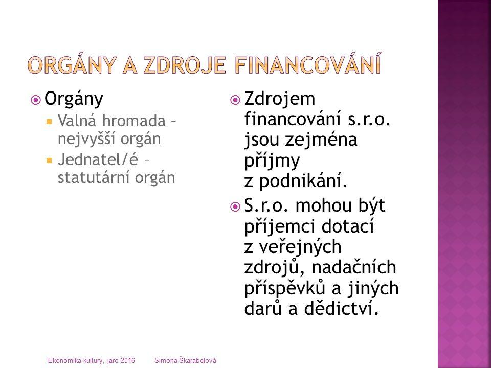  Orgány  Valná hromada – nejvyšší orgán  Jednatel/é – statutární orgán  Zdrojem financování s.r.o.