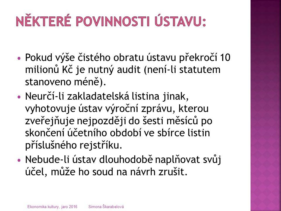 Pokud výše čistého obratu ústavu překročí 10 milionů Kč je nutný audit (není-li statutem stanoveno méně).