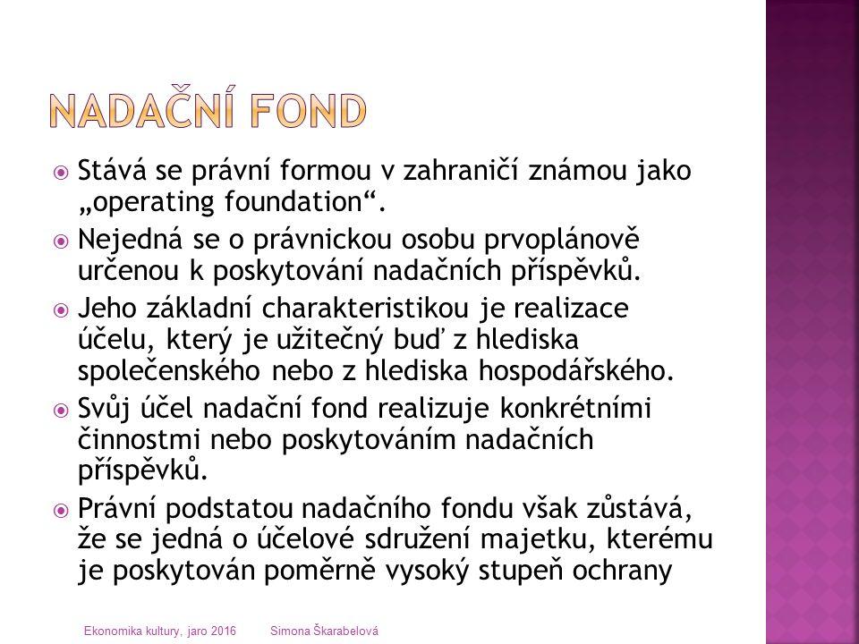 """ Stává se právní formou v zahraničí známou jako """"operating foundation ."""