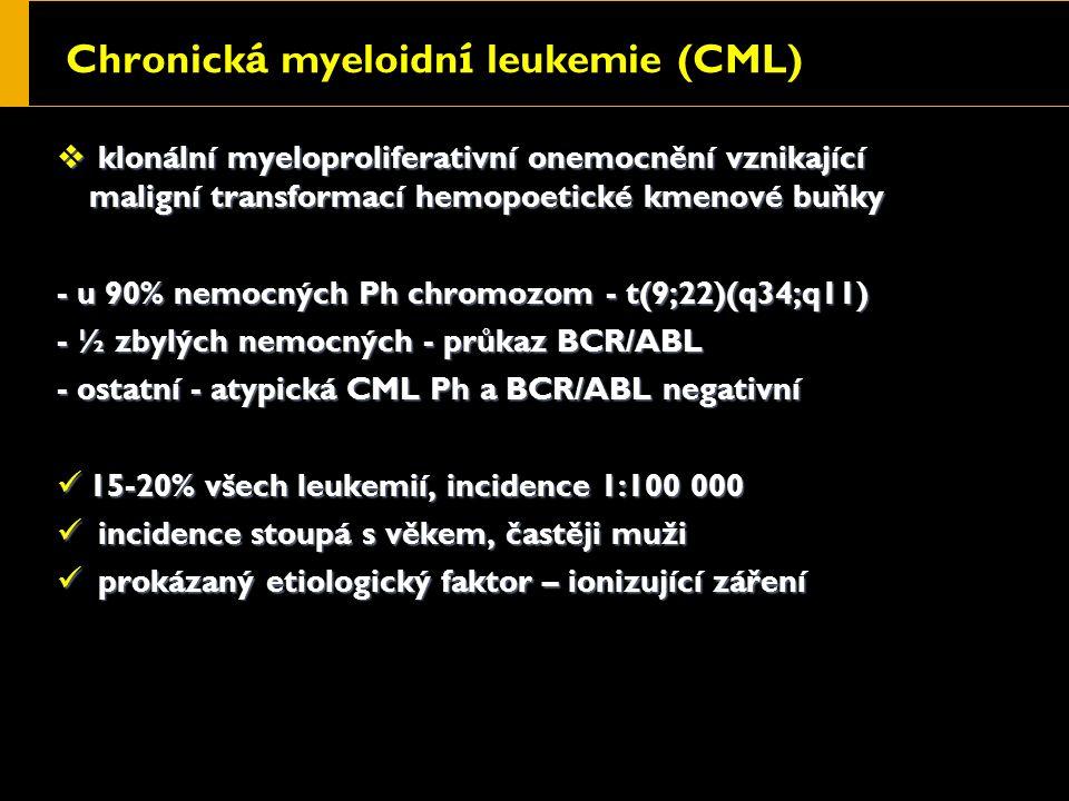 Chronick á myeloidn í leukemie (CML)  klonální myeloproliferativní onemocnění vznikající maligní transformací hemopoetické kmenové buňky - u 90% nemocných Ph chromozom - t(9;22)(q34;q11) - ½ zbylých nemocných - průkaz BCR/ABL - ostatní - atypická CML Ph a BCR/ABL negativní 15-20% všech leukemií, incidence 1:100 000 15-20% všech leukemií, incidence 1:100 000 incidence stoupá s věkem, častěji muži incidence stoupá s věkem, častěji muži prokázaný etiologický faktor – ionizující záření prokázaný etiologický faktor – ionizující záření