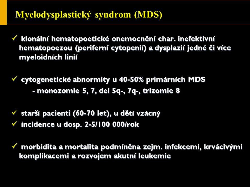 Myelodysplastický syndrom (MDS) klonální hematopoetické onemocnění char.