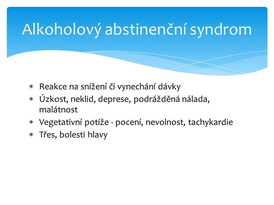  Reakce na snížení či vynechání dávky  Úzkost, neklid, deprese, podrážděná nálada, malátnost  Vegetativní potíže - pocení, nevolnost, tachykardie 