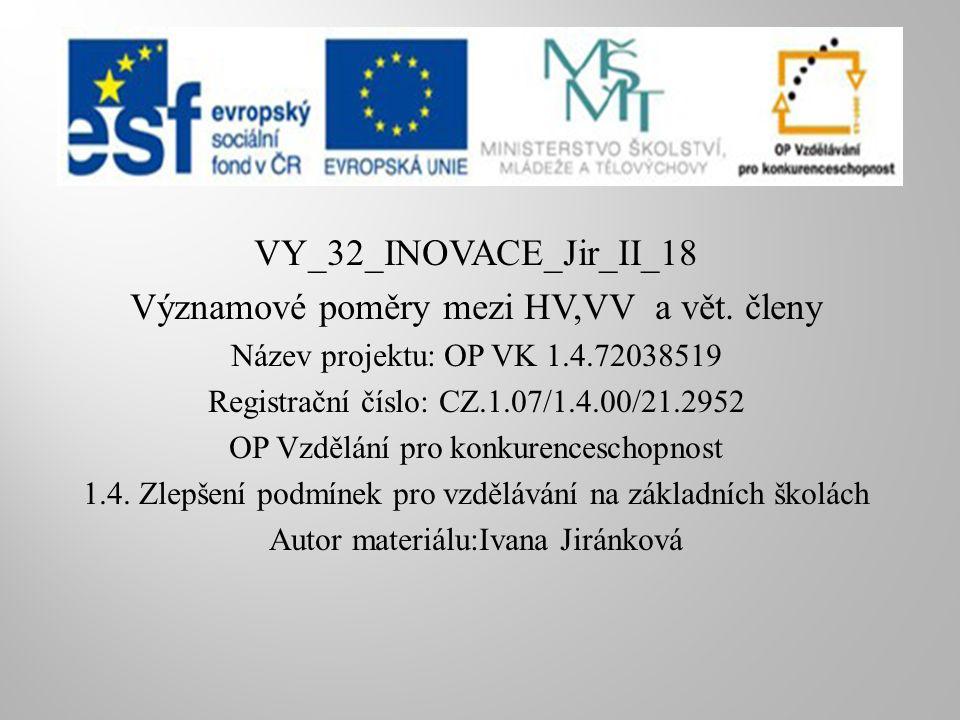 VY_32_INOVACE_Jir_II_18 Významové poměry mezi HV,VV a vět.
