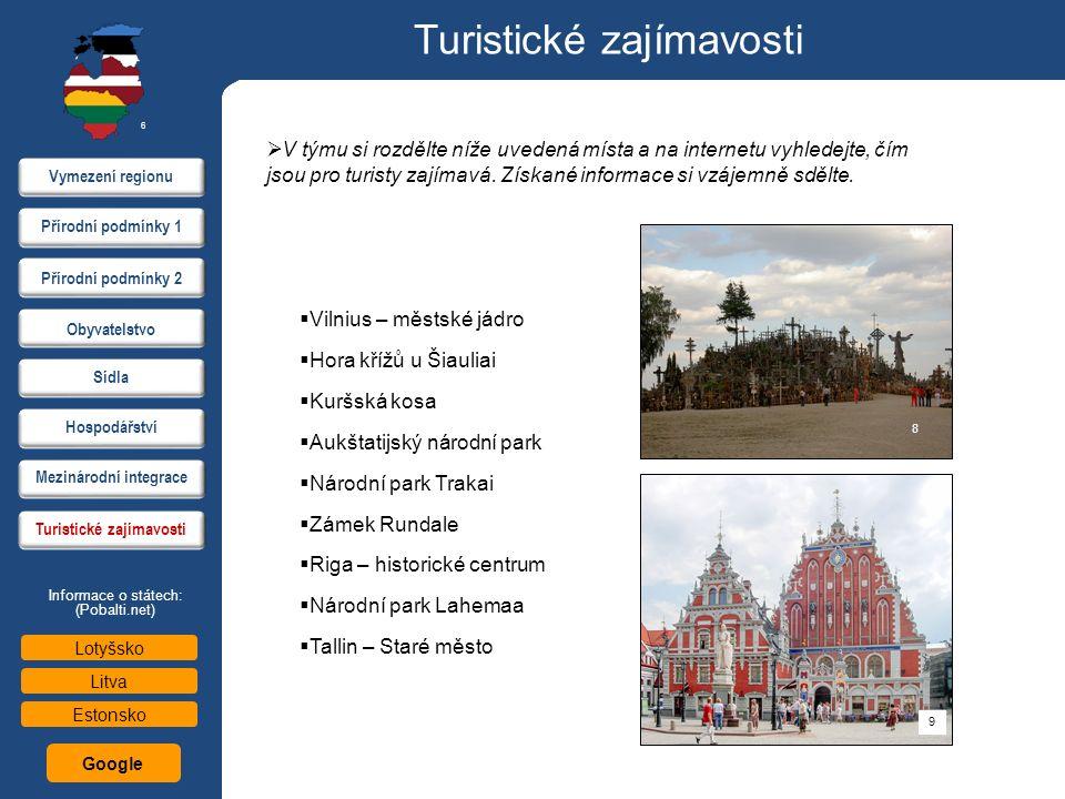 Turistické zajímavosti  V týmu si rozdělte níže uvedená místa a na internetu vyhledejte, čím jsou pro turisty zajímavá. Získané informace si vzájemně