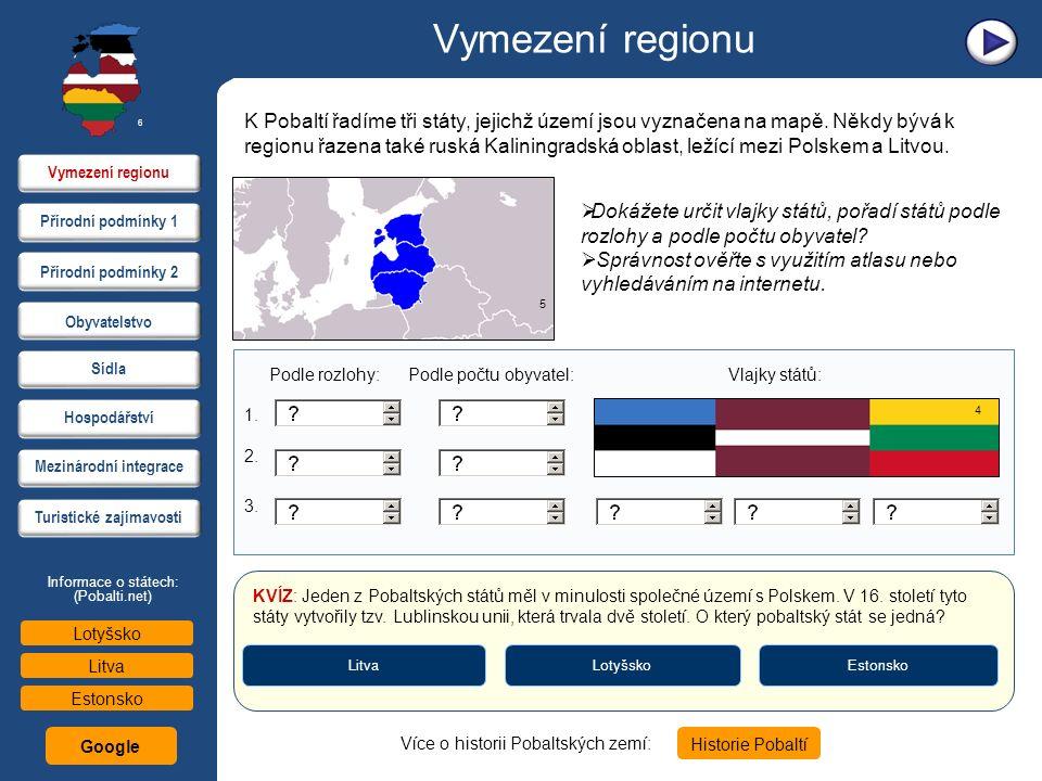 Vymezení regionu K Pobaltí řadíme tři státy, jejichž území jsou vyznačena na mapě. Někdy bývá k regionu řazena také ruská Kaliningradská oblast, ležíc