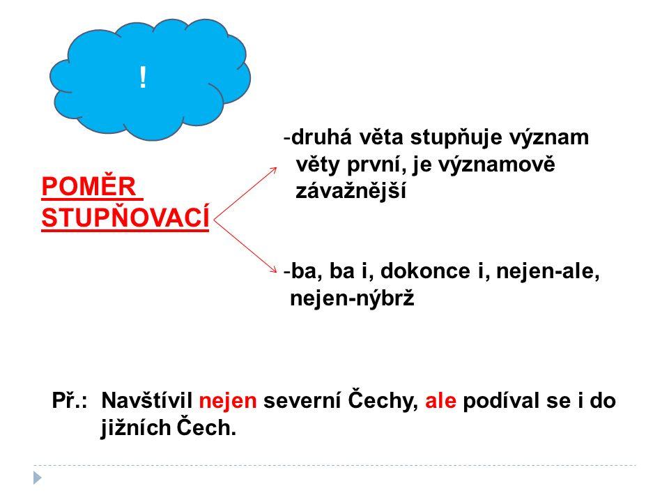 -druhá věta stupňuje význam věty první, je významově závažnější -ba, ba i, dokonce i, nejen-ale, nejen-nýbrž POMĚR STUPŇOVACÍ Př.: Navštívil nejen severní Čechy, ale podíval se i do jižních Čech.