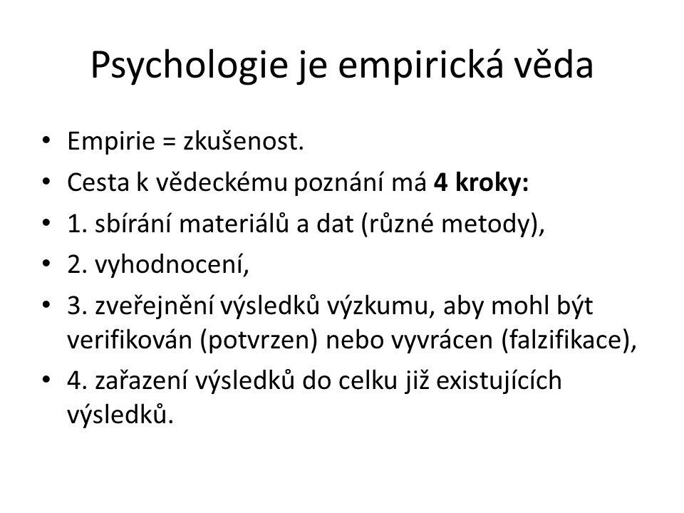 Psychologie je empirická věda Empirie = zkušenost.