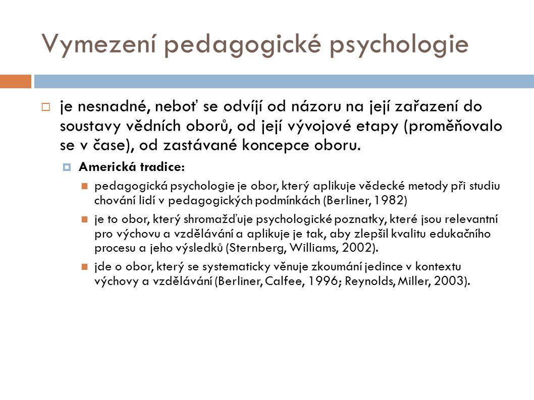 Vymezení pedagogické psychologie  je nesnadné, neboť se odvíjí od názoru na její zařazení do soustavy vědních oborů, od její vývojové etapy (proměňovalo se v čase), od zastávané koncepce oboru.