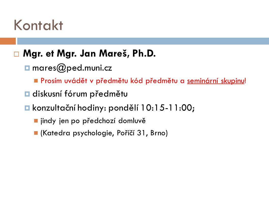 Kontakt  Mgr. et Mgr. Jan Mareš, Ph.D.