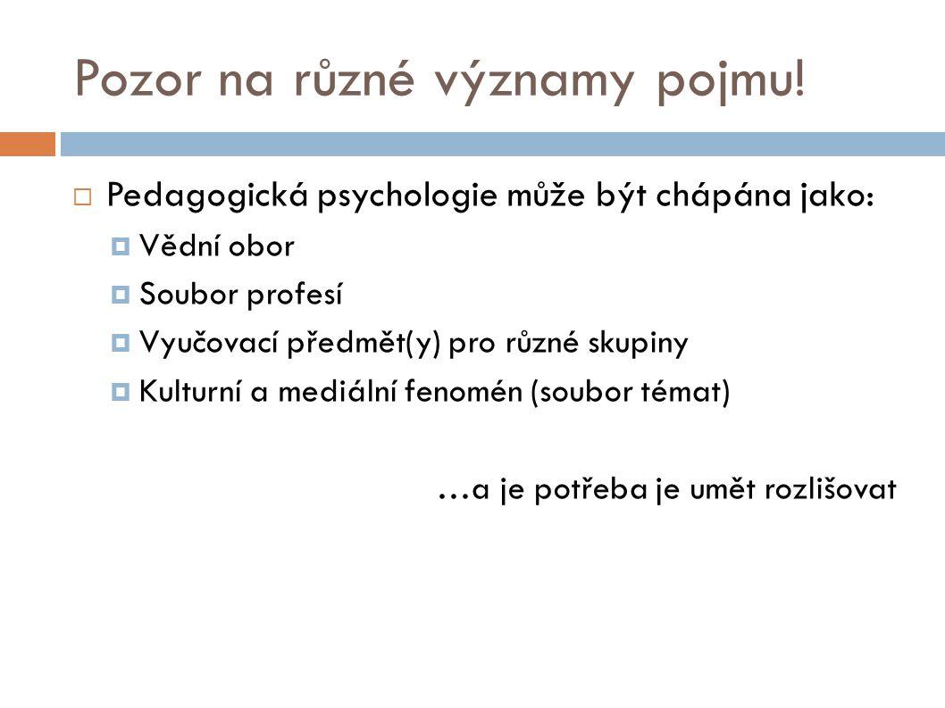 Zařazení pedagogické psychologie.