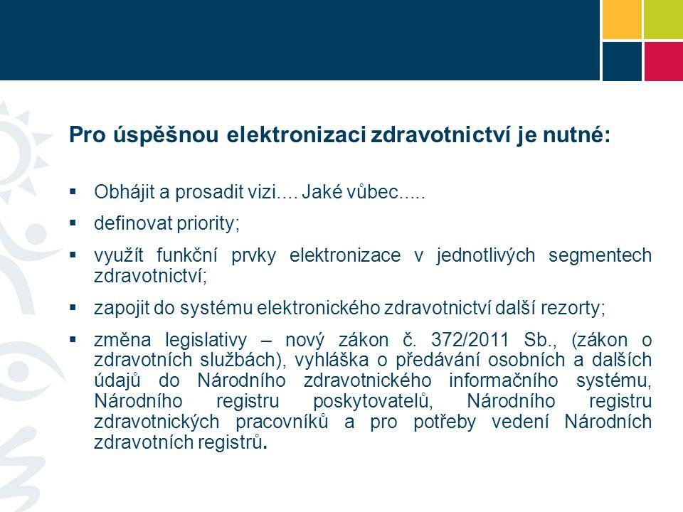 Pro úspěšnou elektronizaci zdravotnictví je nutné:  Obhájit a prosadit vizi....