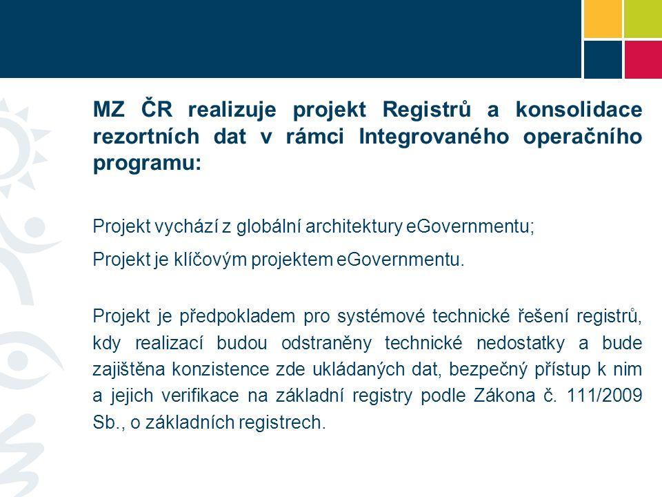 MZ ČR realizuje projekt Registrů a konsolidace rezortních dat v rámci Integrovaného operačního programu: Projekt vychází z globální architektury eGovernmentu; Projekt je klíčovým projektem eGovernmentu.