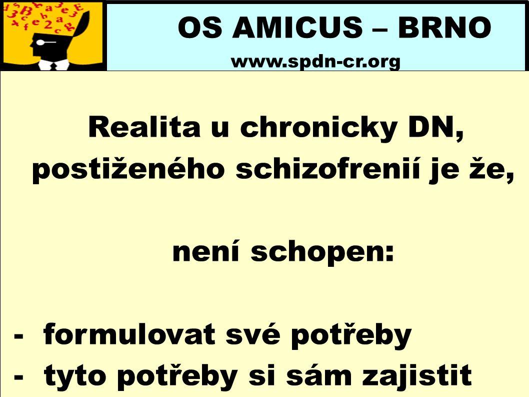 OS AMICUS – BRNO www.spdn-cr.org Realita u chronicky DN, postiženého schizofrenií je že, není schopen: - formulovat své potřeby - tyto potřeby si sám