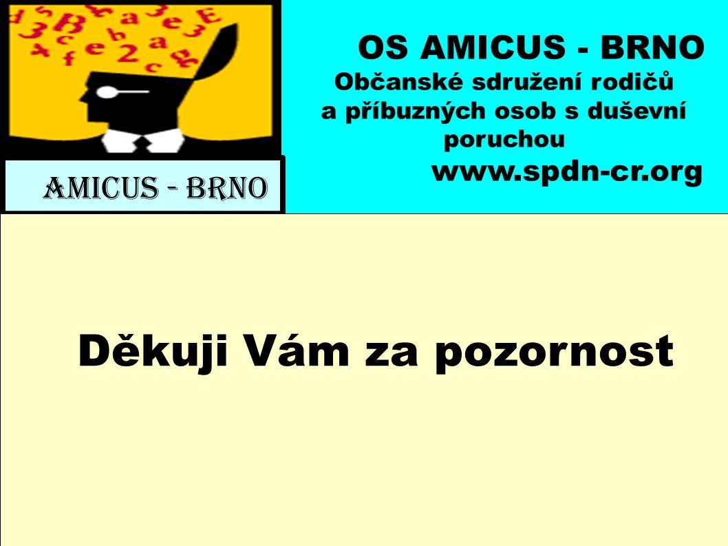 OS AMICUS - BRNO Občanské sdružení rodičů a příbuzných osob s duševní poruchou www.spdn-cr.org AMICUS - BRNO Děkuji Vám za pozornost