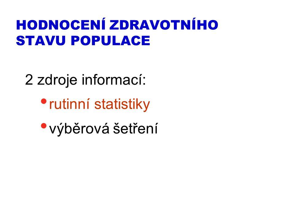 HODNOCENÍ ZDRAVOTNÍHO STAVU POPULACE 2 zdroje informací: rutinní statistiky výběrová šetření