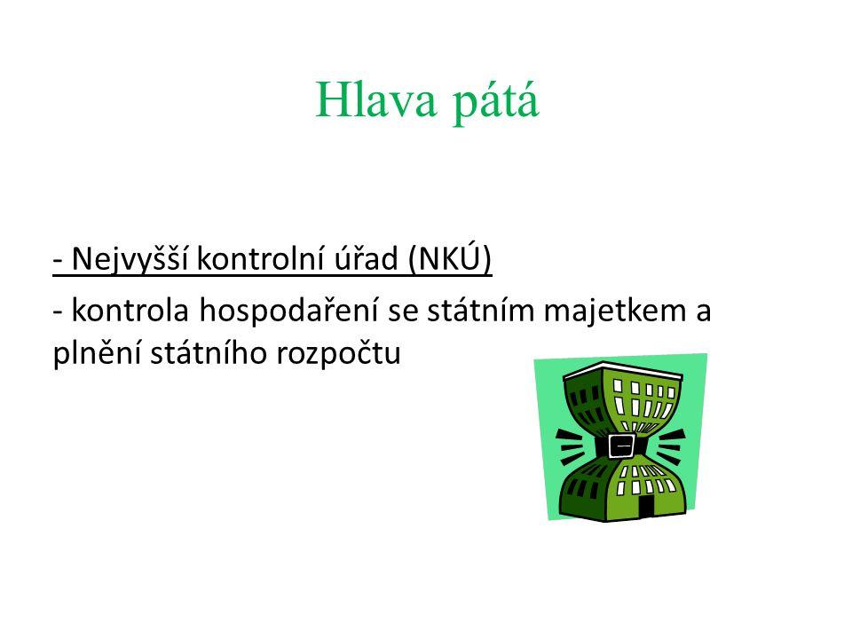 Hlava pátá - Nejvyšší kontrolní úřad (NKÚ) - kontrola hospodaření se státním majetkem a plnění státního rozpočtu