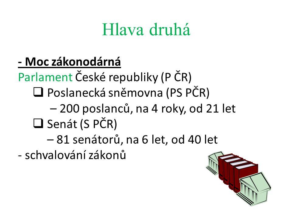 Hlava druhá - Moc zákonodárná Parlament České republiky (P ČR)  Poslanecká sněmovna (PS PČR) – 200 poslanců, na 4 roky, od 21 let  Senát (S PČR) – 81 senátorů, na 6 let, od 40 let - schvalování zákonů
