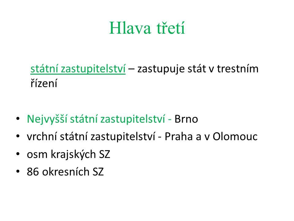 Hlava třetí státní zastupitelství – zastupuje stát v trestním řízení Nejvyšší státní zastupitelství - Brno vrchní státní zastupitelství - Praha a v Olomouc osm krajských SZ 86 okresních SZ