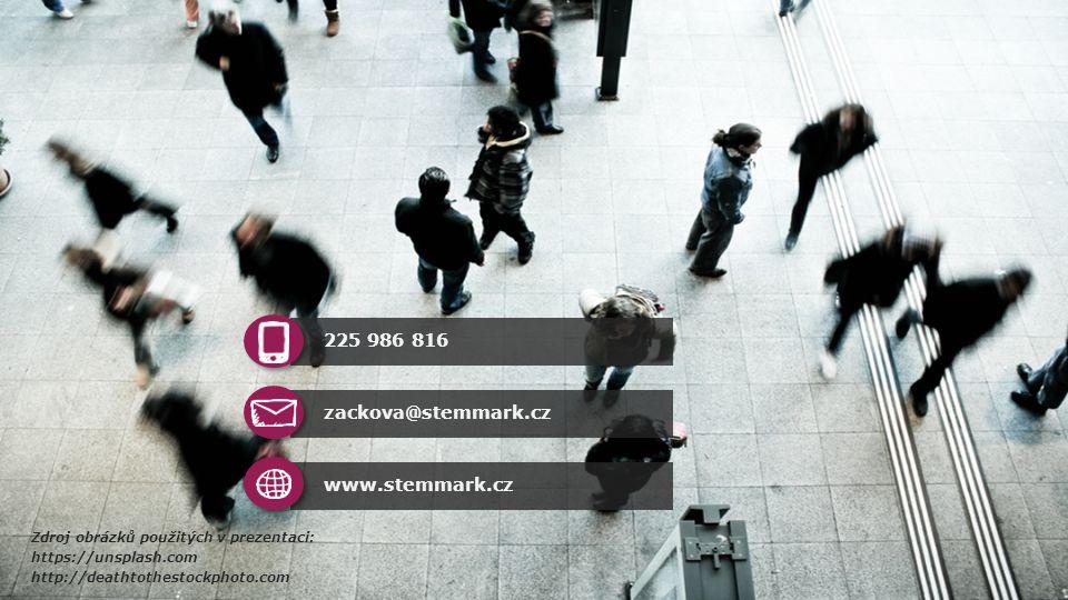 Zdroj obrázků použitých v prezentaci: https://unsplash.com http://deathtothestockphoto.com www.stemmark.cz zackova@stemmark.cz 225 986 816