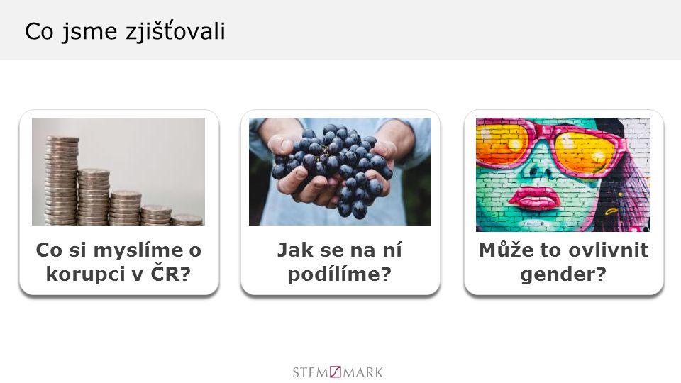 Co jsme zjišťovali Co si myslíme o korupci v ČR Jak se na ní podílíme Může to ovlivnit gender