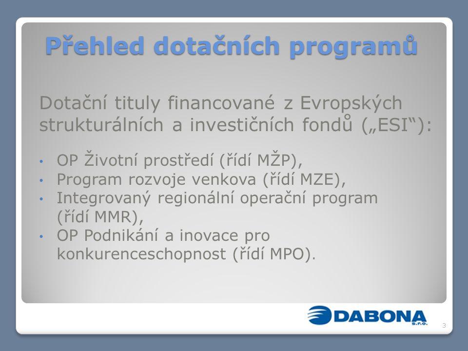 """Přehled dotačních programů Dotační tituly financované z Evropských strukturálních a investičních fondů (""""ESI ): OP Životní prostředí (řídí MŽP), Program rozvoje venkova (řídí MZE), Integrovaný regionální operační program (řídí MMR), OP Podnikání a inovace pro konkurenceschopnost (řídí MPO)."""
