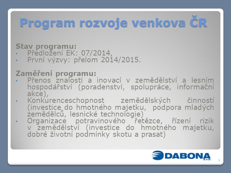 Program rozvoje venkova ČR Stav programu: Předložení EK: 07/2014, První výzvy: přelom 2014/2015.