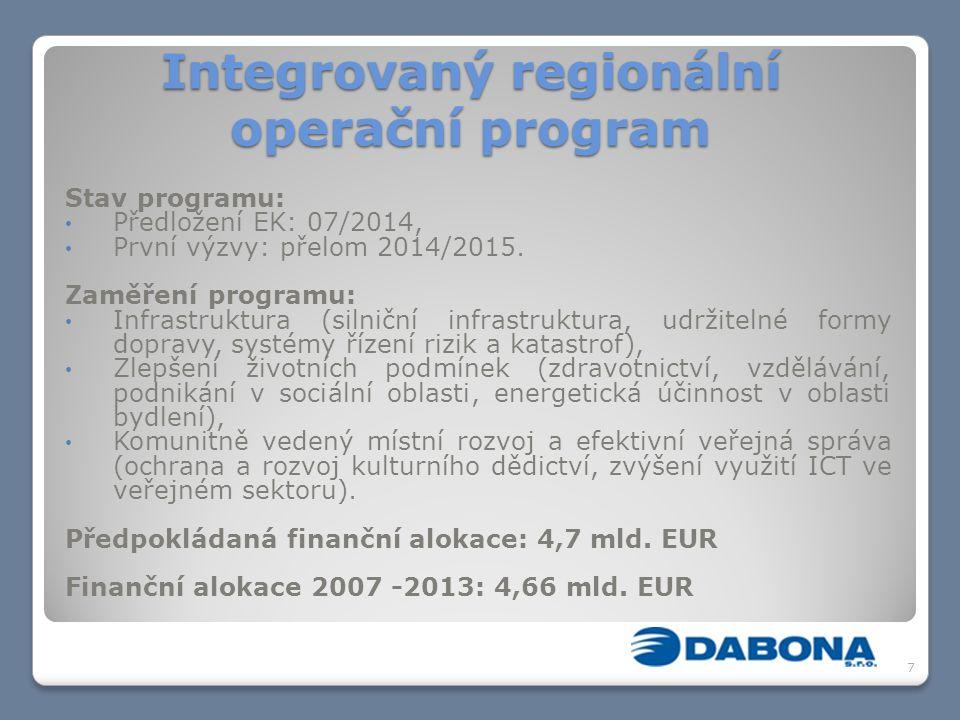 Integrovaný regionální operační program Stav programu: Předložení EK: 07/2014, První výzvy: přelom 2014/2015. Zaměření programu: Infrastruktura (silni