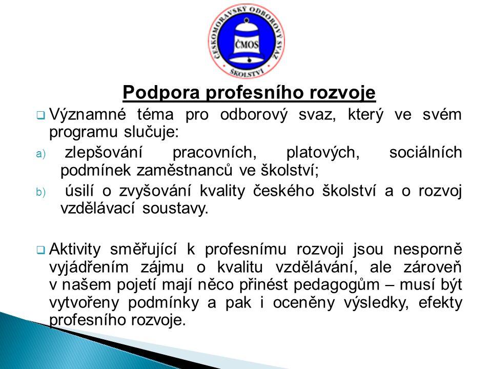 Podpora profesního rozvoje  Významné téma pro odborový svaz, který ve svém programu slučuje: a) zlepšování pracovních, platových, sociálních podmínek zaměstnanců ve školství; b) úsilí o zvyšování kvality českého školství a o rozvoj vzdělávací soustavy.