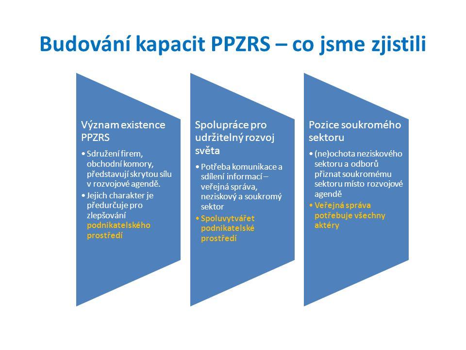 Budování kapacit PPZRS – co jsme zjistili Význam existence PPZRS Sdružení firem, obchodní komory, představují skrytou sílu v rozvojové agendě.