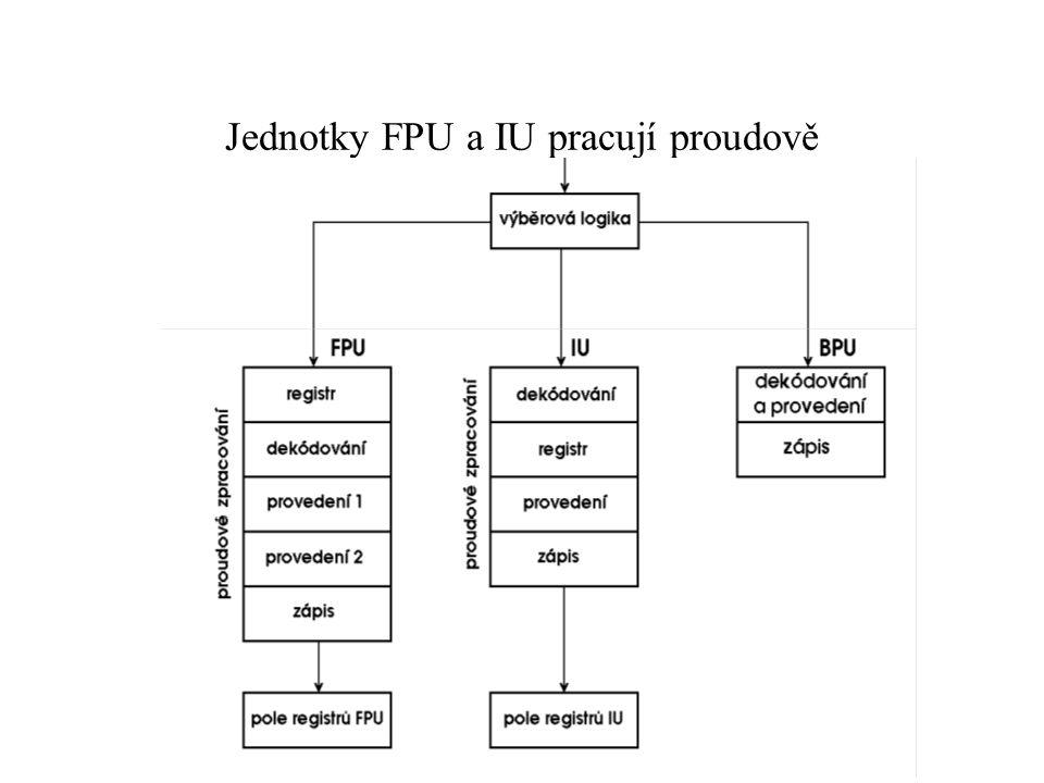 Jednotky FPU a IU pracují proudově