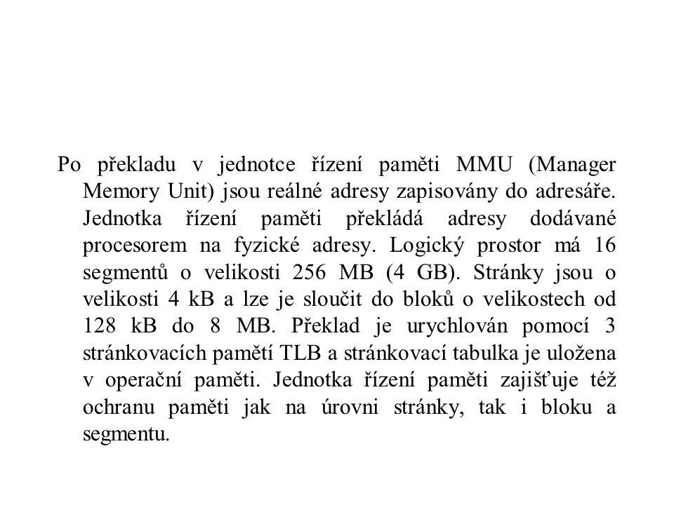 Po překladu v jednotce řízení paměti MMU (Manager Memory Unit) jsou reálné adresy zapisovány do adresáře.