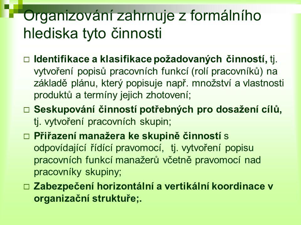 Organizování zahrnuje z formálního hlediska tyto činnosti  Identifikace a klasifikace požadovaných činností, tj.