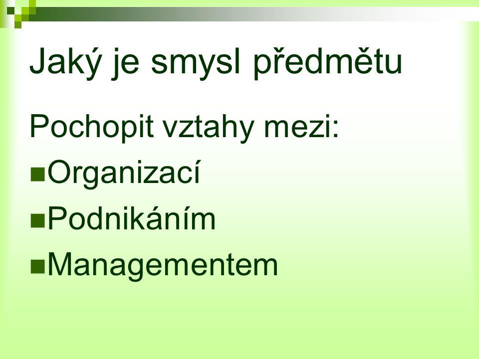 Jaký je smysl předmětu Pochopit vztahy mezi: Organizací Podnikáním Managementem