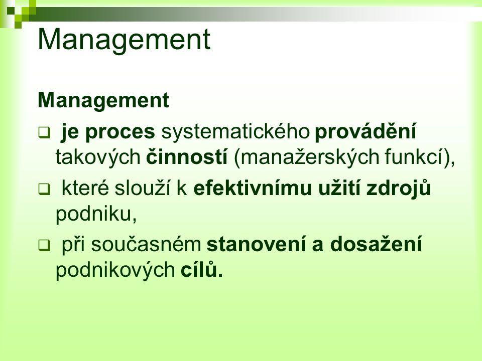Management  je proces systematického provádění takových činností (manažerských funkcí),  které slouží k efektivnímu užití zdrojů podniku,  při současném stanovení a dosažení podnikových cílů.
