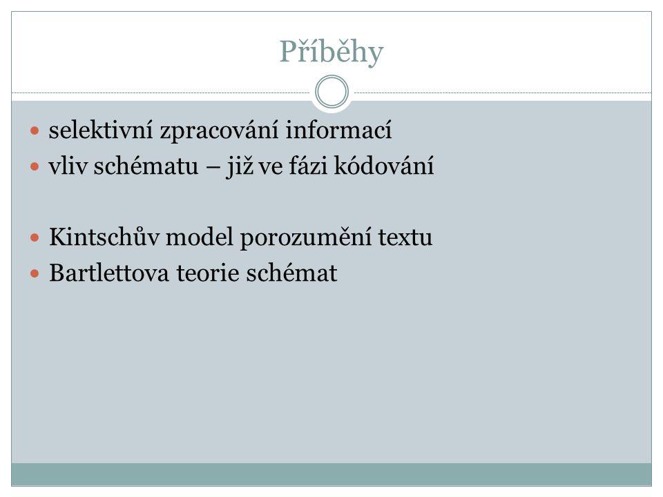 Příběhy selektivní zpracování informací vliv schématu – již ve fázi kódování Kintschův model porozumění textu Bartlettova teorie schémat