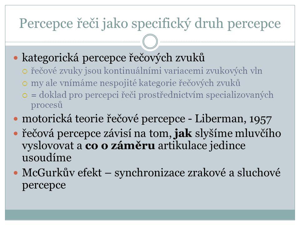 Percepce řeči jako specifický druh percepce kategorická percepce řečových zvuků  řečové zvuky jsou kontinuálními variacemi zvukových vln  my ale vnímáme nespojité kategorie řečových zvuků  = doklad pro percepci řeči prostřednictvím specializovaných procesů motorická teorie řečové percepce - Liberman, 1957 řečová percepce závisí na tom, jak slyšíme mluvčího vyslovovat a co o záměru artikulace jedince usoudíme McGurkův efekt – synchronizace zrakové a sluchové percepce