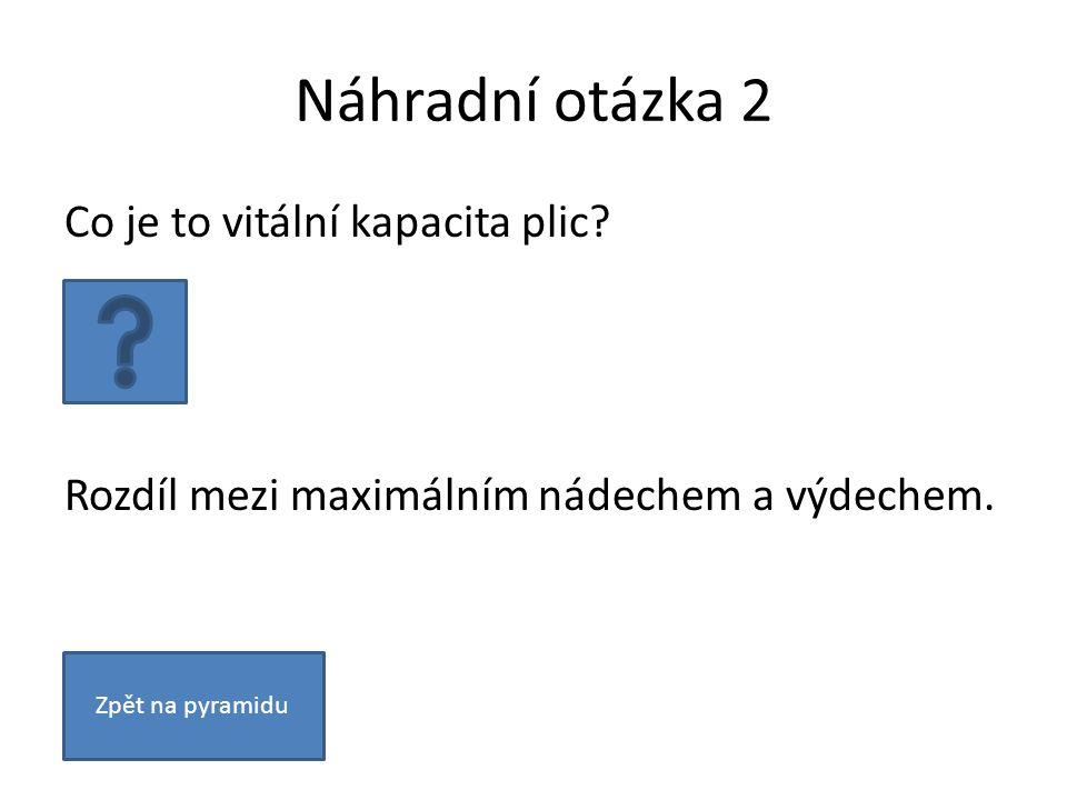 Náhradní otázka 2 Co je to vitální kapacita plic. Rozdíl mezi maximálním nádechem a výdechem.