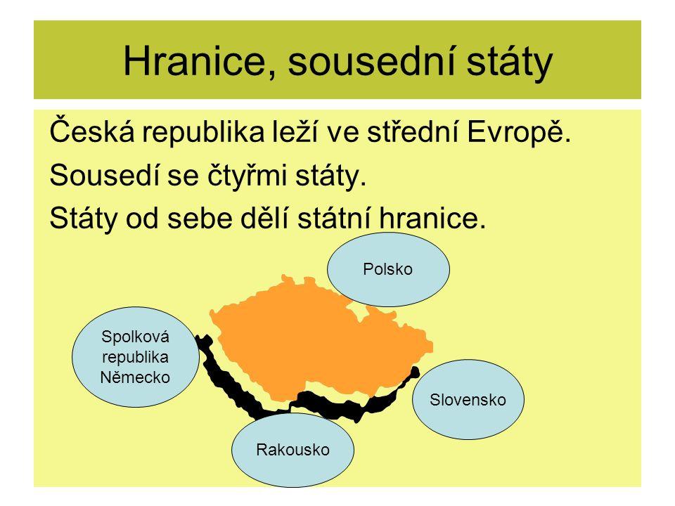 Hranice, sousední státy Česká republika leží ve střední Evropě.