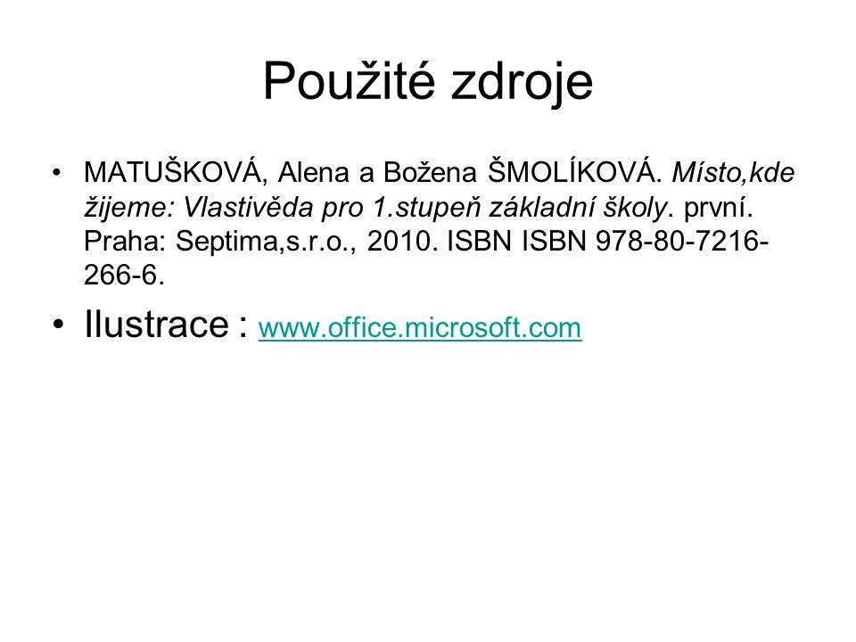Použité zdroje MATUŠKOVÁ, Alena a Božena ŠMOLÍKOVÁ.