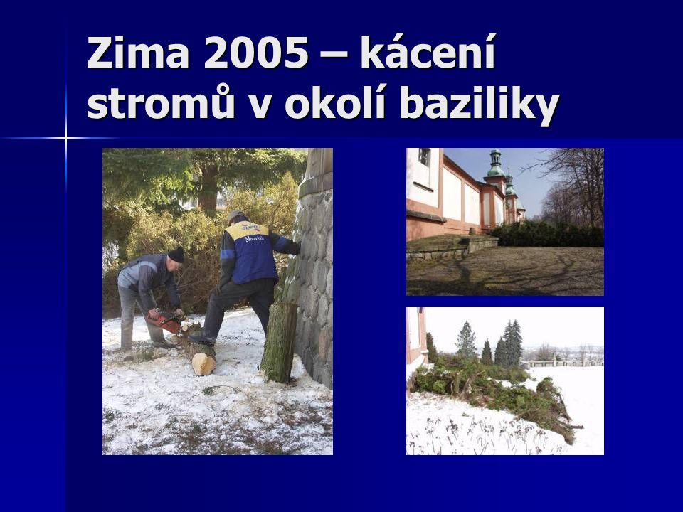 Zima 2005 – kácení stromů v okolí baziliky