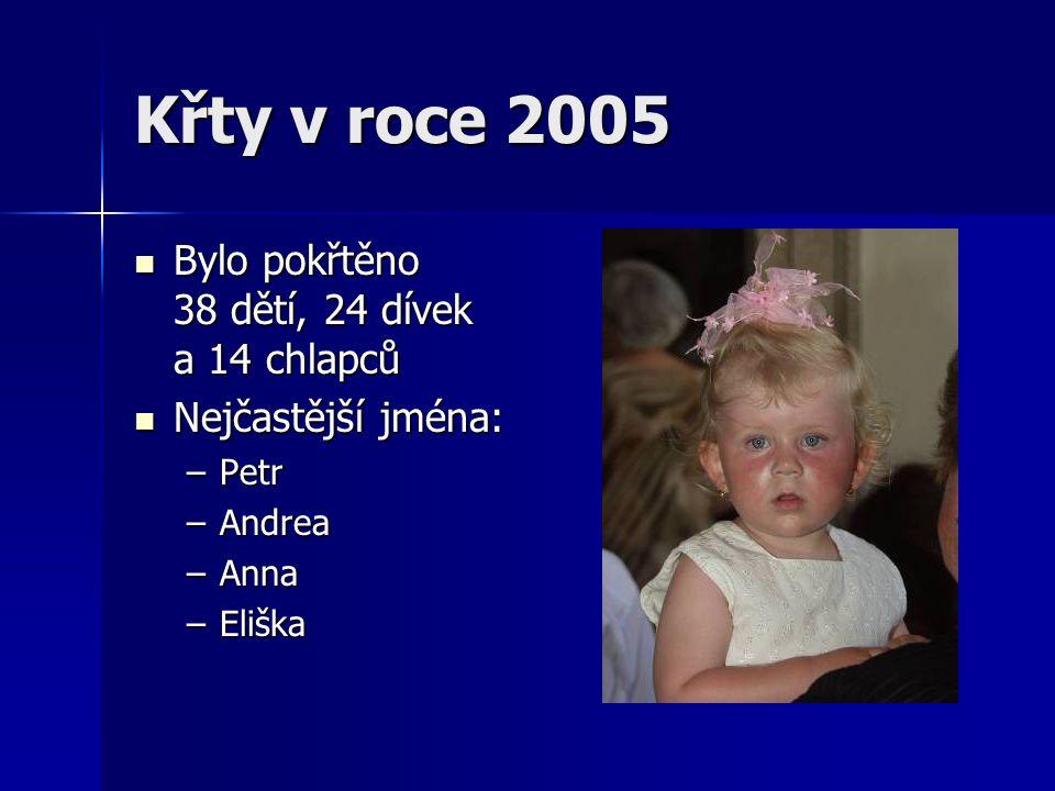 Křty v roce 2005 Bylo pokřtěno 38 dětí, 24 dívek a 14 chlapců Bylo pokřtěno 38 dětí, 24 dívek a 14 chlapců Nejčastější jména: Nejčastější jména: –Petr