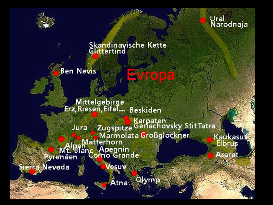 Hory a pohoří Evropa a Asie