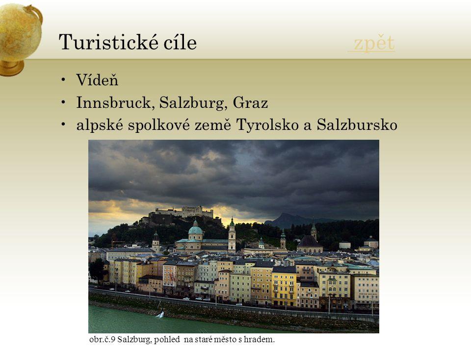 Turistické cíle zpět zpět Vídeň Innsbruck, Salzburg, Graz alpské spolkové země Tyrolsko a Salzbursko obr.č.9 Salzburg, pohled na staré město s hradem.
